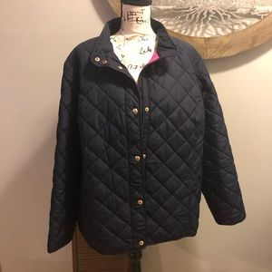 Ralph Lauren 3X Navy Thin Puffer Jacket Pink Lined
